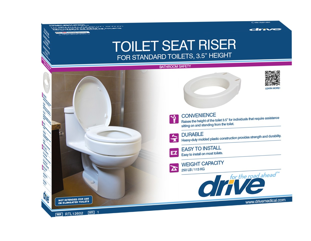 Drive Toilet Seat Riser Elongated 3 5in Dmes